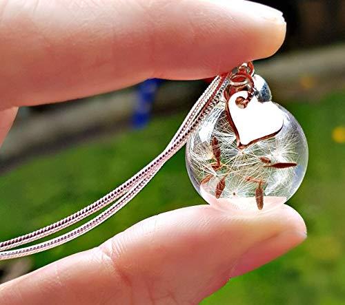 Festa della mamma Ciondolo cuore in oro rosa collana di tarassaco Catena ARGENTO STERLING e confezione regalo - pendente gioielli per le donne regalo per sorella o figlia