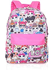 L.O.L. Surprise ! Backpack for Girls and Teens Featuring All-Over Dolls Print | Kids LOL Bag for School Or Travel, Pink Canvas Girls Rucksack with Front Pocket | Great Birthday Gift Idea