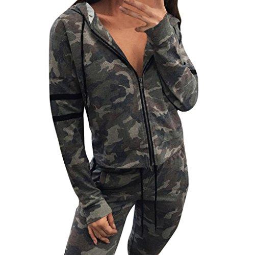 Manschette Kleid Hose (Janly® Camouflage Hoodies Trainingsanzug für Frau Lässige gestreifte Jacke mit Kapuze Tägliche Langarm Outwear Tops (L, Tarnung))