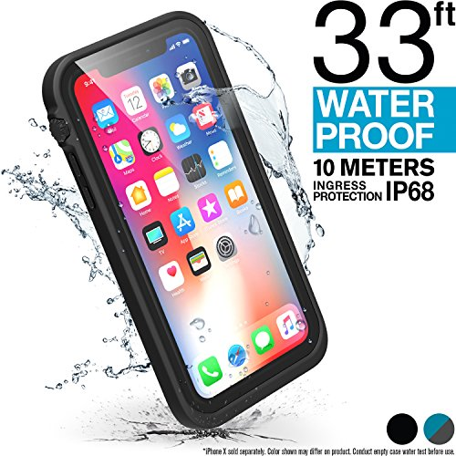 Catalyst Funda Impermeable iPhone X con Correa, Material de Grado Militar a Prueba de Impactos y caídas, natación, Accesorios para cruceros, iPhone X Waterproof Case - Negro