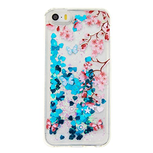 Coque iPhone 5 / 5S / SE Etui Doux TPU Liquide Sables Mouvants, Moon mood® Flowing Brillante Étoile Transparent Housse Étui pour Apple iPhone 5S Case Cover Silicone Souple TPU Cas de Protection Crysta Papillon Bleu
