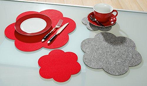 Filz Untersetzer Blume 30 cm, 2er Set, grau, waschbar, Filzuntersetzer, Gilde Handwerk