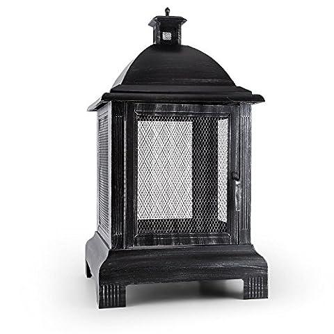 Blumfeldt Loreo Burnished Steel Outdoor Lantern Garden Fireplace Antique Look (35x40cm, Decorative Design, Lockable Front Door)
