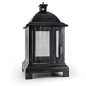 blumfeldt Loreo – Gartenkamin, Feuerschale, Terrassenofen, Feuerstelle, brünierter Stahl, Funkenschutz, Laternen-Design…