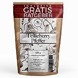 Tellicherry Pfeffer ganz 120g   Gourmet Pfeffer Spätlese inkl Gratis Ratgeber   Qualitäts Universalpfeffer für Pfeffermühle Reibe Gewürze Nachfüllpack