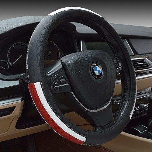 "Preisvergleich Produktbild HCMAX Prämie Fahrzeug Lenkradabdeckung Auto Lenkradschutz Universal Durchmesser 38cm (15"") Echtleder"
