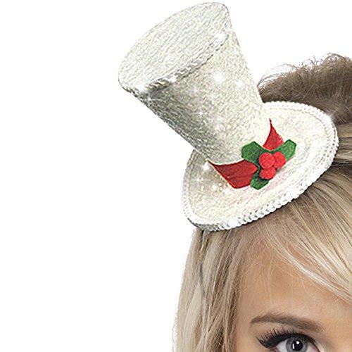 Smiffys Damen Weiße Weihnacht Glitzer Hut auf Haarreif, -
