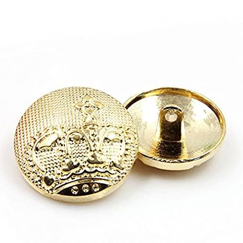 Pack of 10 Fashion Metal Buttons Gold Crown Breasted Blazer Buttons