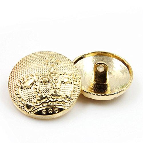 Breasted Blazer (10Stück fashion Metall-Gold Krone Breasted Blazer Tasten, gold, 23 mm)
