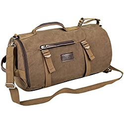 Eshow Retro Canvas Weekend Travel Men's Duffel Bag - Brown