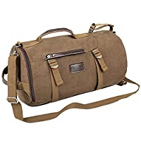 Eshow Men's Canvas Retro Weekend Overnight Outdoor Hiking Climbing Camping Sports Gym Travel Duffel Bag Brown