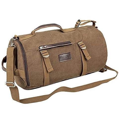 Eshow Herren Canvas Reise Sportlich Multifunktionen Rucksack Taschen, Braun (Geschenke Für Den Mann Online-shopping)