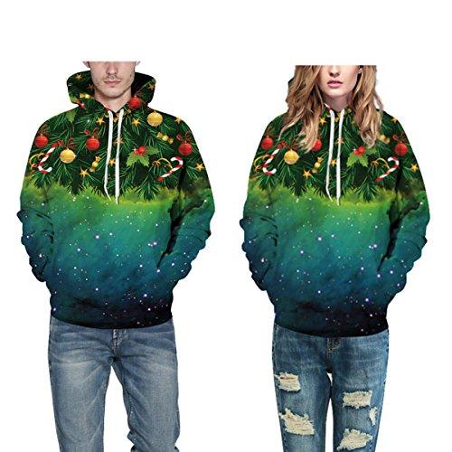 Sweatshirt Hoodies 3D Imprimer Cordon À Capuche À Manches Longues Casual Jumper Avec Grande Poche Pour Hommes Femmes Couples Sapin De Noël Green