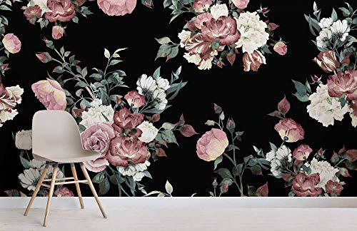 Zuhause Blumentapete Rosentapete Vintage Pink und Creme Dark Floral Fototapete 250x175cm -