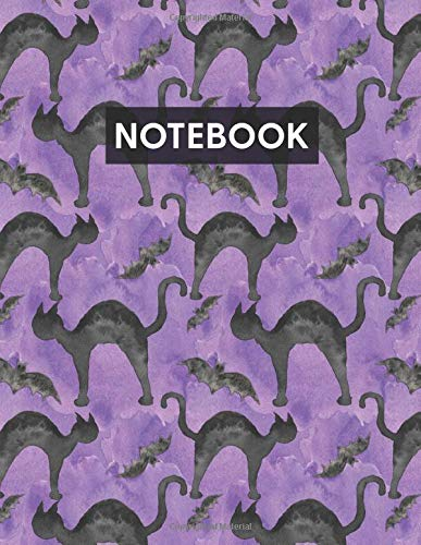Notebook: Blank Lined Journal with Black Cats And Bats Purple for Writing Journaling or School (Halloween Spooky Cute Books)