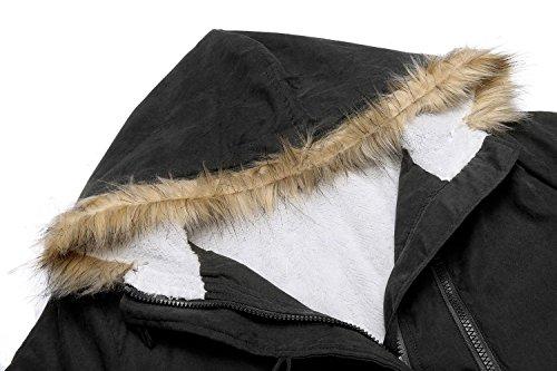 Caeasar Damen Winterjacke Klassische Übergangsjacke Daunenmantel Warm Mantel Windabweisend Lang Mantel Schwarz