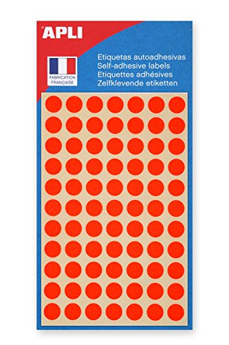 AGIPA Lot de 10 Sachets de 385 étiquettes Gommettes de signalisation Rondes 8 mm Orange Fluo
