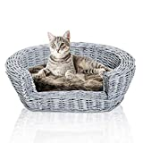 Pawhut Wicker Pet Bed Willow Dog Cat Sofa Couch Puppy Basket with Cushion Grey 57L x 46W x 17.5H cm