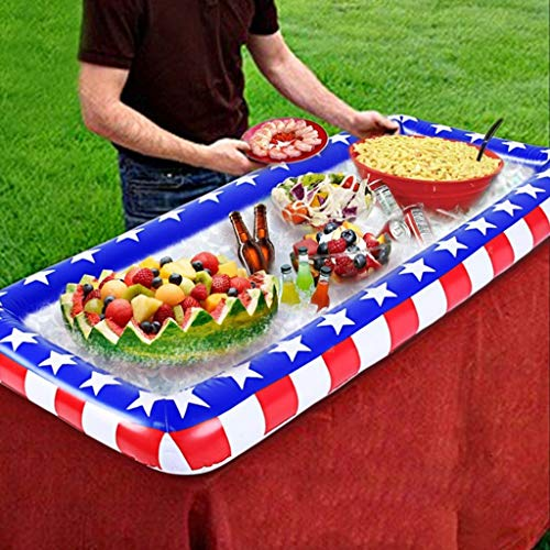 Bar Drain Tray (LIJUEZL Aufblasbare Ice Serving Buffet Bar mit Drain Plug-Salad Food & Drinks Tray für Party Picnic & Camping)