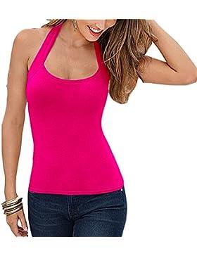 Mujer Verano Camisa, Sexy sin Espalda Halter Chaleco Moda Color Sólido sin Mangas Camisetas Casual Slim Fit Shirt...