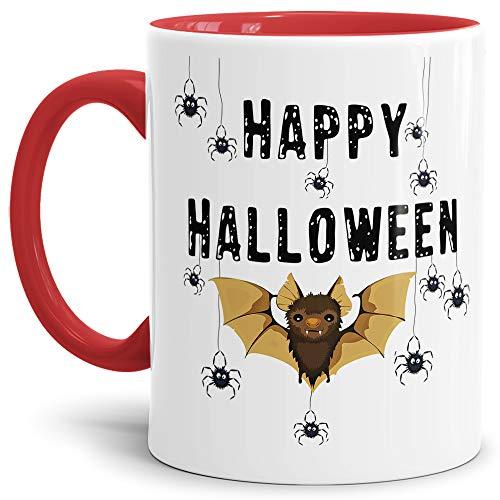 Tassendruck Halloween-Tasse mit Spruch Happy Halloween - Fledermaus/Spinnen - Innen & Henkel Rot (Fledermaus Sprüche Halloween)