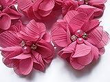YYCRAFT 20 Stück Chiffon Blumen mit Strass und Perlen Hochzeit Dekoration/Haar Accessoire Handwerk/Nähen Craft(Bubblegum,5cm)