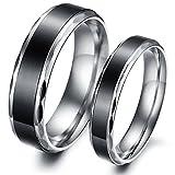 Edelstahl Mode Ringe mit Zwei Töne Poliert , Elegant Edelstahlringe Partnerringe Trauringe Eheringe (Frauen, 52 (16.6))