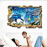 3D Delfine Unterwasserwelt Wandaufkleber (Abnehmbar, Wasserdicht, Grün) für Wohnzimmer Schlafzimmer Büro Schlafsäle Kinder Schlafzimmer Hintergrund Dekoration,Mehrfarben