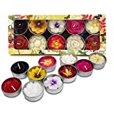Mixed 10 handmade fairtrade scentd flower tealight candle in assorted designs and colours gift set