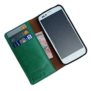 i-KitPit Genuine Leather Wallet Flip Case For Lava Xolo Q1010 (GREEN)