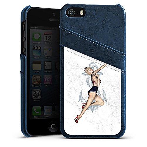 Apple iPhone 5s Housse Étui Protection Coque Rock n Roll Pin up Fille Étui en cuir bleu marine