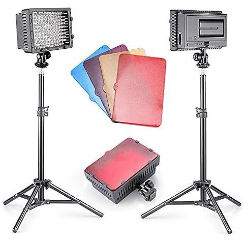 Neewer® 2pièces CN-160Dimmable Ultra High Power Panel LED Video Light Photographie kit d'éclairage pour Canon, Nikon, Sony et autres appareils photo reflex numériques