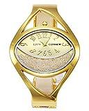 JSDDE Uhren Damen Armbanduhr Chic Manschette Halbmond Strass Damenuhr Spangenuhr Armreifen Quarzuhr Gold