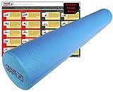 ResultSport® - Rullo in Schiuma Eva, 15 cm x 90 cm, Incluso Poster Esercizi in Formato A3, Colore: Blu