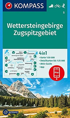 KOMPASS Wanderkarte Wettersteingebirge, Zugspitzgebiet: 4in1 Wanderkarte 1:50000 mit Aktiv Guide und Detailkarten inklusive Karte zur offline ... 1:50 000 (KOMPASS-Wanderkarten, Band 5) -