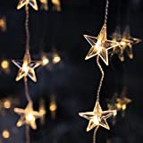 Indoor Star Curtain Light with 40 Warm White LEDs on Clear Cable by Lights4fun