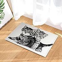 Tapis de bain animaux de bande dessinée chat mignon noir et blanc photo  impression d  490341d60fe