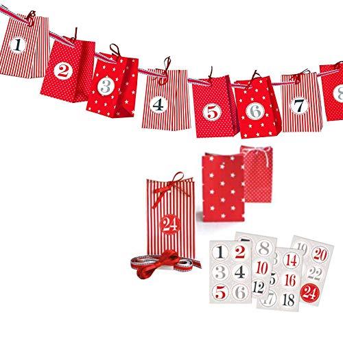 Charl´s Adventskalender zum Basteln und Selbstbefüllen 30teilig mit 24 Tüten und Zahlenaufkleber von 1-24 ... (rot)
