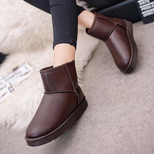 Amlaiworld Autunno Inverno Impermeabile cotone scarpe di cuoio artificiale marrone