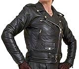 Ladies Genuine Real Very Soft Lambskin Nappa Leather Marlon Brando Vintage Biker Jacket (Black, Bust 40in)