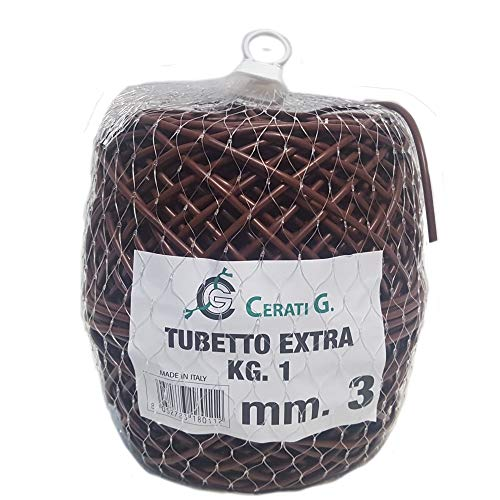 3mm x 150m (495ft) Green or Brown Flexible Tying Tube, Flexi Plant Tie, Plastic, Soft & Flexible, Commercial Quality, UV Stable, 10 Year Life. (1, Brown)