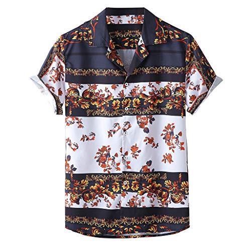 Setsail Herren Sommermode Bequemes Top Lässig Bedruckte Hemden Kurzarm Top Bluse Alltagskleidung Geeignet für Indoor- und Outdoor-Aktivitäten - Ärmelloses Rollkragen Mock