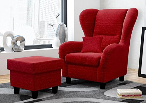 Ohrensessel mit Hocker rot, Stoff | Relaxsessel | Fernsehsessel | Schlafsessel | Lesesessel |...