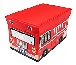 Kids Fire Truck Collapsible Toy Storage Organizer Cushion Top