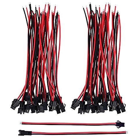 eBoot 22 AWG JST SM JST Connector 2 Pin Adaptateur de Connecteur Mâle et Femelle avec Câble de Électrique de 135 mm pour LED Light, 20 Paires