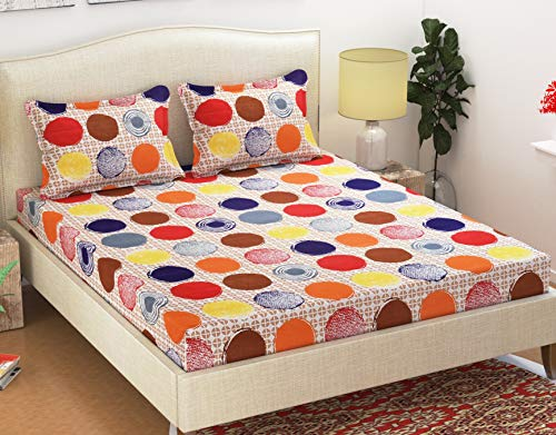 HFI 140 TC Polycotton Double Bedsheet with 2 Pillow Covers - Queen Size, Multicolour