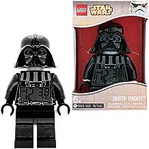 Despertador con luz infantil con figurita de Darth Vader de LEGO Star Wars; negro/gris; plástico; 24 cm de altura; Pantalla LCD; chico chica; oficial