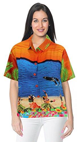 abito camicia hawaiana beachwear pulsante maniche corte camicia gi� drt051 signore XXL Arancio