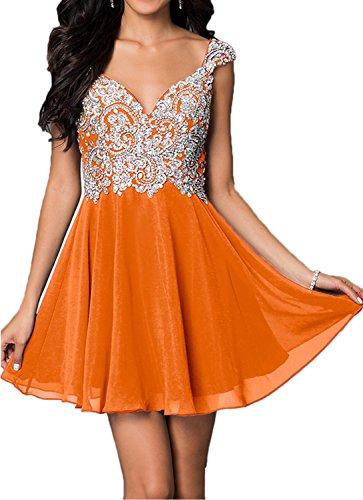 Charmant Damen Herrlich Chiffon Steine Cocktailkleider Heimkehr Tanzenkleider Abendkleider Mini Rock Orange