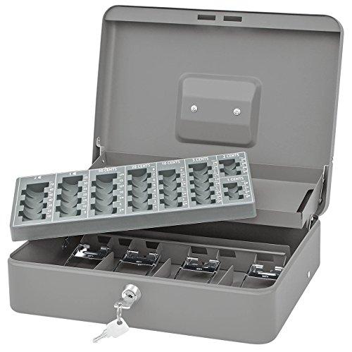 Wedo 149858012 Geldzählkassette Standard Plus, Fassungsvermögen € 137,60 Hartgeld, Sicherheitsschloss, 4-Fächereinsatz für Scheine, Tragegriff, 30 x 24 x 9 cm, pulverbeschichtetes Stahlblech, grau